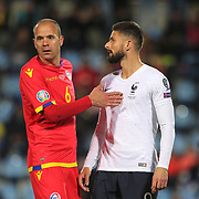 ANDORRA LA VELLA, ANDORRA. June 1. Olivier Giroud #9 of France defended by Ildefons Lima #6 of Andorra during the Andorra V France 2020 European Championship Qualifying, Group H match at the Estadi Nacional d'Andorra on June 11th 2019 in Andorra (Photo by Tim Clayton/Corbis via Getty Images)