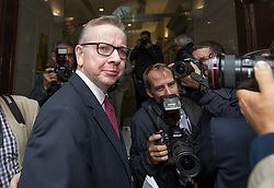 © Licensed to London News Pictures. 01/07/2016. London, UK. Justice Secretary Michael Gove is surrounded by the media as he arrives in Westminster launch is leadership campaign. Mr Gove announced that he would run in the contest to become Conservative party leader shortly before Boris Johnson decided to quit the race. Photo credit: Peter Macdiarmid/LNP