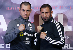 Scott Quigg (left) and Viorel Simion during a press conference at Sky Sports Studios, Isleworth.