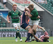 Twickenham, Lancashire, 27th May 2018. Bill Beaumont Division 1 Final, Jack ELSTON, hangs on to the ball, in the tackle from Lanc's during the rugby match,  Lancashire vs Hertfordshire,  at the RFU. Stadium, Twickenham. UK. .  <br /> <br /> © Peter Spurrier/Alamy Live News