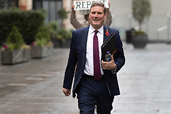 © Licensed to London News Pictures. 09/11/2020. London, UK. Labour Party Leader Sir Keir Starmer departs LBC Studios with Labour Party Director of Communications Ben Nunn(unseen) after appearing on Nick Ferrari at Breakfast. Photo credit: George Cracknell Wright/LNP