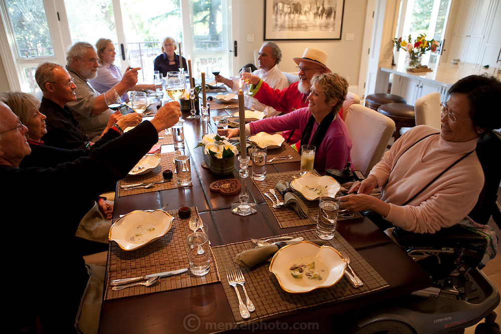 Dinner for Phil Woods, publisher of Ten Speed Press at home of Hugh Carpenter and Teri Sandison, Napa Valley, CA. Phil Woods died shortly after.