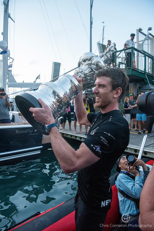 Emirates Team New Zealand, Helmsman Peter Burling with the Americas Cup After beating Luna Rossa Prada Pirelli Team 7 - 3.  Wednesday the 17th of March 2021. Copyright photo: Chris Cameron