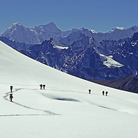 An expedition crosses an unnamed pass in the Khumbu Region.