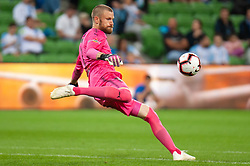 November 2, 2018 - Melbourne, VIC, U.S. - MELBOURNE, VIC - NOVEMBER 02: Sydney FC goalkeeper Andrew Redmayne (1) goal kicks the ball downfield at the Hyundai A-League Round 3 soccer match between Melbourne City FC and Sydney FC on November 02, 2018, at AAMI Park in Melbourne. (Photo by Speed Media/Icon Sportswire) (Credit Image: © Speed Media/Icon SMI via ZUMA Press)