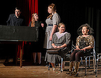 "Ray-Bud (Michael O'Brien), Lucille (Jessica McDermott), Delightful (Taylor Gagne), Marguerite (Kate Persson) and Suzanne (Alana Persson) pay their last respects for the ""Dearly Departed"" at Wednesday afternoon's dress rehearsal with Laconia High School Drama.  (Karen Bobotas/for the Laconia Daily Sun)"