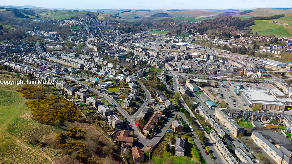 Aerial view from drone (C0 class) over town of Hawick in Scottish Borders, Scotland, UK