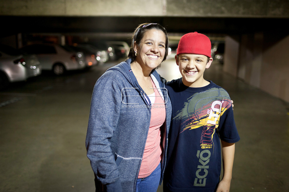 February 7th, 2012, Los Angeles, California.  Jennifer Mattingly, 39, a nurse from Malakoff, Texas who tears up when she thinks of her husband and other children she left behind to bring her son Clayton (12) to LA. PHOTO © JOHN CHAPPLE / www.johnchapple.com.