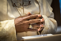29 January 2018, Geneva, Switzerland: His Holiness Most Rev. Dr Rufus Okikiola Ositelu, primate of The Church of the Lord (Prayer Fellowship) Worldwide visits the World Council of Churches from 28-30 January in Geneva. Here, morning prayers in the Ecumenical Centre Chapel.