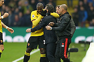 Stefano Okaka Chuka of Watford celebrates scoring his sides 1st goal with Walter Mazzarri, the Watford manager. Premier league match, Watford v Everton at Vicarage Road in Watford, London on Saturday 10th December 2016.<br /> pic by John Patrick Fletcher, Andrew Orchard sports photography.