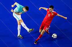 Ziga Ceh of Slovenia vs Artem Niyazov of Russia during futsal quarterfinal match between National teams of Slovenia and Russia at Day 7 of UEFA Futsal EURO 2018, on February 5, 2018 in Arena Stozice, Ljubljana, Slovenia. Photo by Vid Ponikvar / Sportida