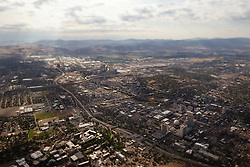 """""""Reno, Nevada Aerial"""" - Reno, Nevada photographed from a hot air balloon. A tilt-shift lens gives the image a """"toy"""" like look."""