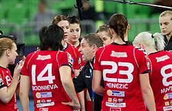 Tone Tiselj, head coach of Krim with his players during handball match between RK Krim Mercator and Buducnost Podgorica (MNE) in season 2011/2012 of EHF Women's Champions League, on February 24, 2012 in Arena Stozice, Ljubljana, Slovenia. (Photo By Vid Ponikvar / Sportida.com)