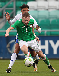 Republic of Ireland's Ronan Curtis and Israel's Amit Bitton during the 2019 UEFA Under 21 Qualifying Group Five match at the Tallaght Stadium, Dublin.