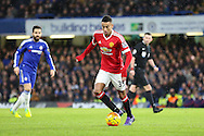 Jesse Lingard of Manchester United during the Barclays Premier League match between Chelsea and Manchester United at Stamford Bridge, London, England on 7 February 2016. Photo by Phil Duncan.