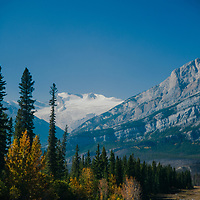 The Wilson Icefield pours down from Mount Wilson in Banff National Park, Alberta, Canada.