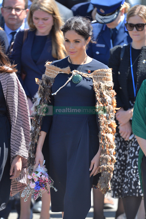 The Duchess of Sussex wears a traditional Maori cloak called a Korowai as she arrives, at Te Papaiouru, Ohinemutu, in Rotorua, before a lunch in honour of Harry and Meghan, on day four of the royal couple's tour of New Zealand.