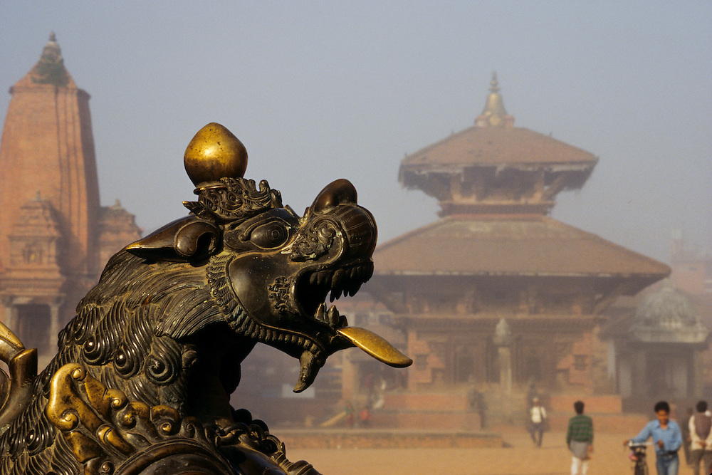 Asia, Nepal, Bhaktapur, bronze winged lion in Durbar square and Pashupatinath temple