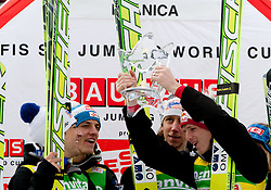 Winning team of Austria: Andreas Kofler, Gregor Schlierenzauer, Martin Koch and Thomas Morgenstern celebrate at flower ceremony during Flying Hill Team at 3rd day of FIS Ski Jumping World Cup Finals Planica 2011, on March 19, 2011, Planica, Slovenia. (Photo by Vid Ponikvar / Sportida)