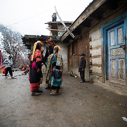 Bumburet, Chitral District,Pakistan.Pic Shows Kalash children in the valley of Bumburet on the roof terraces