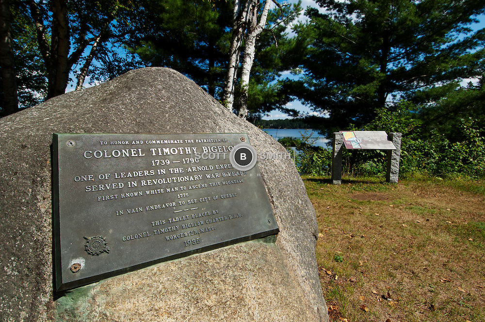 Colonel Timothy Bigelow, former POW in the American Revolution, was one of two majors to march with Benedict Arnold and his freezing, starving, ailing men through Maine to Canada in December of 1775.  This monument marks the encampment area of the mission.
