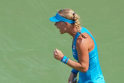 August 19, 2018 - Mason, Ohio, USA - Kiki Bertens (NED) reacts after winning a point during Sunday's final round of the Western and Southern Open at the Lindner Family Tennis Center, Mason, Oh. (Credit Image: © Scott Stuart via ZUMA Wire)