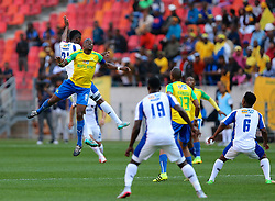 Hlompho Kekana of Mamelodi Sundowns up in the air during the 1st leg of the MTN8 Semi Final between Chippa United and Mamelodi Sundowns held at the Nelson Mandela Bay Stadium in Port Elizabeth, South Africa on the 11th September 2016<br /><br />Photo by: Richard Huggard / Real Time Images