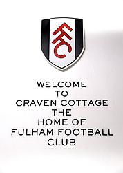 A general view of a Craven Cottage sign ahead of the Premier League match at Craven Cottage, London.