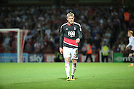 Nottingham Forest defender Damien Perquis (27) walking off the pitch after getting red card during the EFL Sky Bet Championship match between Brentford and Nottingham Forest at Griffin Park, London, England on 16 August 2016. Photo by Matthew Redman.