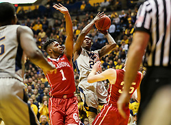 Jan 6, 2018; Morgantown, WV, USA; West Virginia Mountaineers forward Wesley Harris (21) shoots in the lane during the second half against the Oklahoma Sooners at WVU Coliseum. Mandatory Credit: Ben Queen-USA TODAY Sports