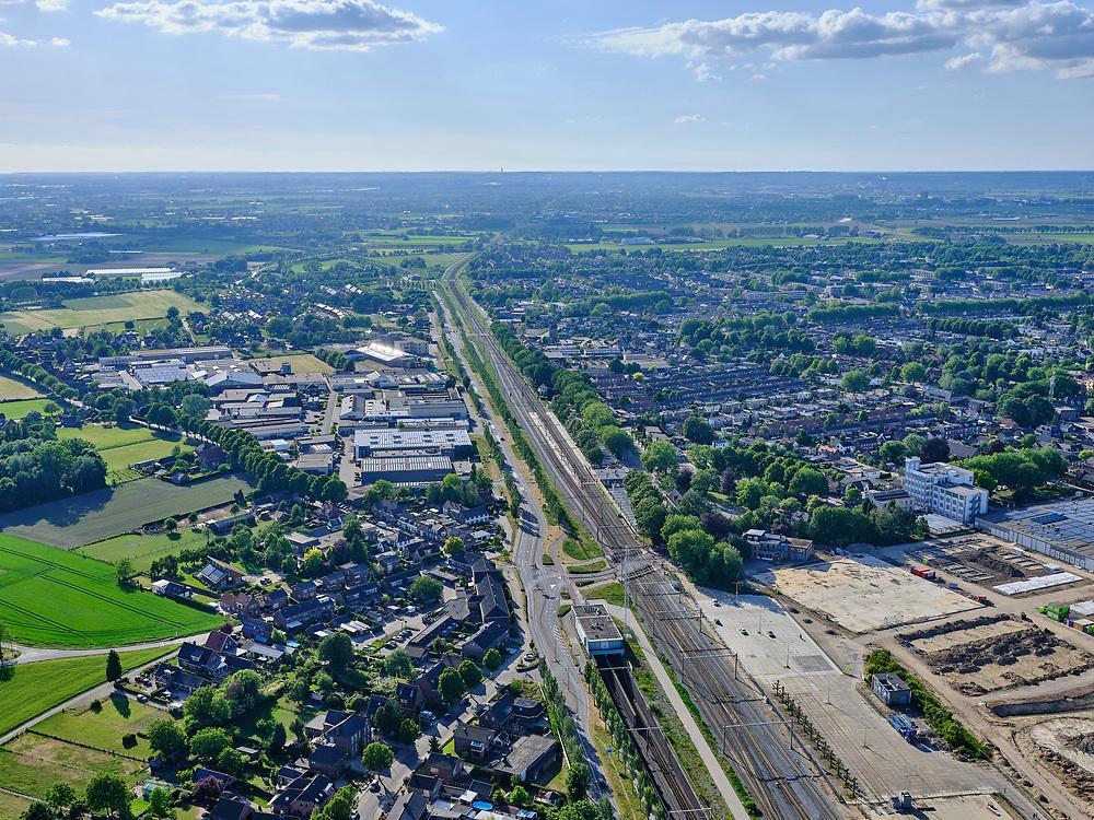 Nederland, Gelderland, Gemeente Zevenaar, 14–05-2020; Betuweroute, tunnel Zevenaar. Naast de tunnel de reguliere spoorlijn (Arnhem Duitsland).<br /> Betuweroute, tunnel Zevenaar. Next to the tunnel the regular railway line (Arnhem, Germany).<br /> <br /> luchtfoto (toeslag op standaard tarieven);<br /> aerial photo (additional fee required)<br /> copyright © 2020 foto/photo Siebe Swart