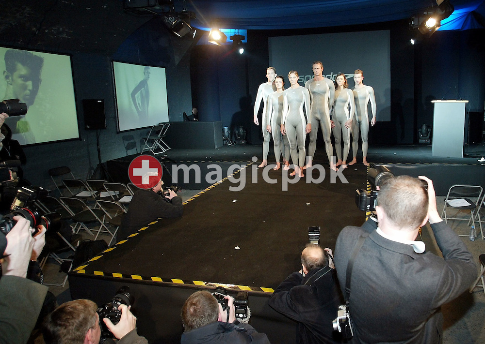 (L-R) Stephen Parry (GBR), Hannah Stockbauer (GER), Katy Sexton (GBR), Mark Foster (GBR), Mirna JUKIC (AUT) and Thomas Rupprath (GER) pose in the new Speedo FASTSKIN FSII (FS2) swim suit on Tuesday, March 9, 2004, at the launch party in London. (Photo by Patrick B. Kraemer/MAGICPBK)