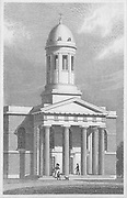 Chapel of Ease, West Hackney, engraving from 'Metropolitan Improvements, or London in the Nineteenth Century' London, England, UK 1828 , drawn by Thomas H Shepherd