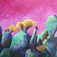 SOLD<br /> <br /> The prickly pear patches are topped with thousands of filmy blossoms that shimmer in the sun.<br /> #0 x 60, oil on canvas.