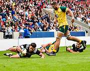 New Zealand centre Patelesio Tomkinson dives over to score during the World Rugby U20 Championship 5rd Place play-off  match Australia U20 -V- New Zealand U20 at The AJ Bell Stadium, Salford, Greater Manchester, England on Saturday, June  25  2016.(Steve Flynn/Image of Sport)