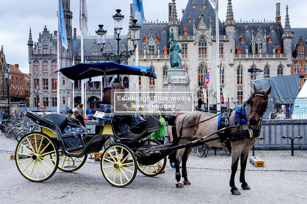 A horse and trap in Grote Markt, Bruges, Belgium<br /> <br /> (c) Andrew Wilson   Edinburgh Elite media