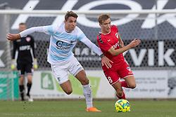 Oliver Kjærgaard (FC Helsingør) og Kristian Kirkegaard (FC Fredericia) under kampen i 1. Division mellem FC Fredericia og FC Helsingør den 4. oktober 2020 på Monjasa Park i Fredericia (Foto: Claus Birch).