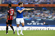 Everton defender Leighton Baines (3) pulls on the captains armband for the last time as he announced his retirement after the game during the Premier League match between Everton and Bournemouth at Goodison Park, Liverpool, England on 26 July 2020.