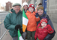 Aaron and Roisin Daly, from Naas, Kildare, with their children, Brandon, 6, and Mark, 2, and grandad, Paul pictured during the centenary Easter Rising Parade at Cuffe Street in Dublin. Picture credit; Damien Eagers 27/3/2016