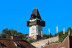 THEMENBILD, Graz, Österreich, Graz ist die Landeshauptstadt des Bundeslandes Steiermark und mit ungefaehr 265.000 Einwohnern die zweit groeßte Stadt Österreichs. im Bild das Wahrzeichen von Graz, der Uhrturm. //THEME IMAGE, FEATURE, Graz, Austria, Graz is the capital city of the federal state of Styria and with approximately 265.000 residents the second largest city of Austria. picture shows the landmark of Graz, the Uhrturm. Graz, Austria on 2012/07/18. EXPA Pictures © 2012, PhotoCredit: EXPA/ Sebastian Pucher