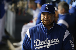 May 11, 2018 - Los Angeles, CA, U.S. - LOS ANGELES, CA - MAY 11: Los Angeles manager Dave Roberts (30) walks the dugout trying to encourage his players as the Dodgers continue in their struggles in the game between the Cincinnati Reds and the Los Angeles Dodgers on May 11, 2018 at Dodger Stadium in Los Angeles, CA.. (Photo by Peter Joneleit/Icon Sportswire) (Credit Image: © Peter Joneleit/Icon SMI via ZUMA Press)