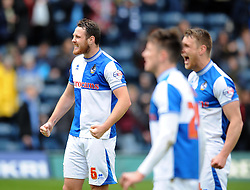 Bristol Rovers' Tom Parkes and team mates celebrate at the final whistle  - Photo mandatory by-line: Dougie Allward/JMP - Mobile: 07966 386802 26/04/2014 - SPORT - FOOTBALL - High Wycombe - Adams Park - Wycombe Wanderers v Bristol Rovers - Sky Bet League Two