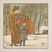 The North Wind and the Robin illustration From the Book ' The baby's bouquet : a fresh bunch of old rhymes & tunes ' by Crane, Walter, 1845-1915; Crane, Lucy, 1842-1882; Evans, Edmund, 1826-1905; Publisher  George Routledge and Sons (London and New York) 1878
