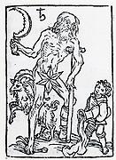Planetary figure of Saturn. From 'Sphaera mundi', Strasburg, 1539.