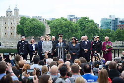 June 5, 2017 - London, London, United Kingdom - Image licensed to i-Images Picture Agency. 05/06/2017. London, United Kingdom. Mayor of London Sadiq Khan, Home Secretary Amber Rudd and Shadow Home Secretary Diane Abbott at a vigil in London for the victims of the London Bridge terror attack  Picture by Elliott Franks / i-Images (Credit Image: © Elliott Franks/i-Images via ZUMA Press)