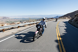 Vinnie Grasser of Florida leads the way on his 1916 Harley-Davidson with Paul Jung of Germany on the 1915 Harley-Davidson entry from W and W Cycles of Wurzburg close behind as they head up the steep mountain pass just out of Palm Desert on the Palms to Pines Scenic Byway on the last day of the Motorcycle Cannonball Race of the Century. Stage-15 ride from Palm Desert, CA to Carlsbad, CA. USA. Sunday September 25, 2016. Photography ©2016 Michael Lichter.