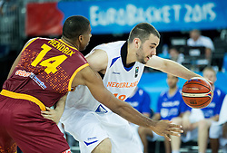 Richard Hendriks of Macedonia vs Nicolas de Jong of Netherlands during basketball match between Netherlands and Macedonia at Day 2 in Group C of FIBA Europe Eurobasket 2015, on September 6, 2015, in Arena Zagreb, Croatia. Photo by Vid Ponikvar / RHF