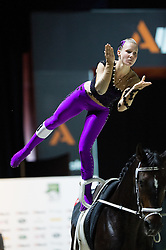 Elisabeth Bieri, (SUI), Rocky xxxviii CH, Corinne Stump - Individuals Women Final Vaulting - Alltech FEI World Equestrian Games™ 2014 - Normandy, France.<br /> © Hippo Foto Team - Jon Stroud<br /> 05/09/2014
