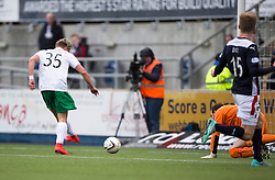Hibernian's Jason Cummings scoring their second goal. <br /> half time : Falkirk v Hibernian, Scottish Championship game played at The Falkirk Stadium 2/5/2015.