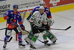 17.09.2021, Tiroler Wasserkraft Arena, Innsbruck, AUT, ICE, HC TWK Innsbruck Die Haie vs HK SZ Olimpija, Grunddurchgang, 1. Runde, im Bild 3 : 2 für Innsbruck Leibach Torhüter Paavo Holsa geschlagen // during the bet-at-home ICE Hockey League Basic round 1th round match between HC TWK Innsbruck Die Haie and HK SZ Olimpija at the Tiroler Wasserkraft Arena in Innsbruck, Austria on 2021/09/17. EXPA Pictures © 2021, PhotoCredit: EXPA/ Erich Spiess
